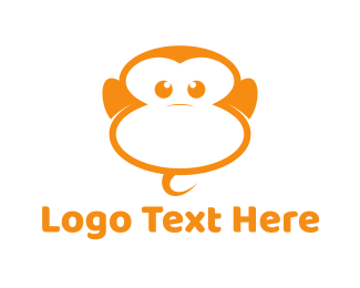 Chimpanzee - Orange Monkey logo design