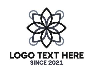 Botanist - Black Lotus Outline logo design