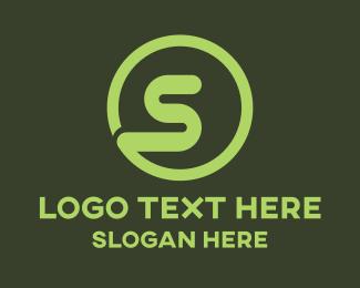 Snake - Green S Circle logo design