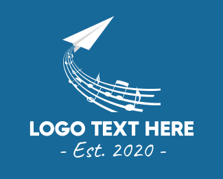 Airline - Musical Paper Plane logo design