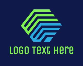 Program - Green Blue E Cube logo design