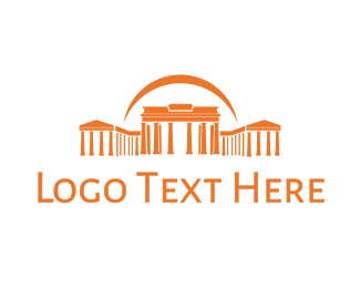 Greek - Orange Greek Temple logo design