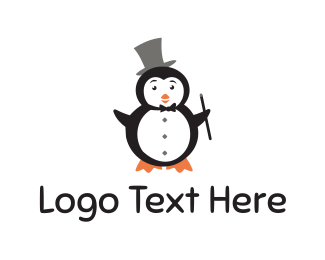 Top Hat - Magician Penguin logo design
