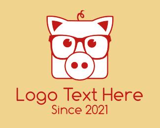 Piglet - Hipster Pig logo design