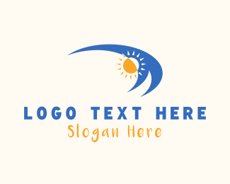 Beach - Waves & Sun logo design