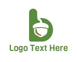 Nut - Acorn Letter B logo design