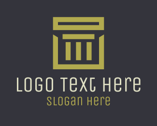 Traditional - Gold Square Pillar logo design