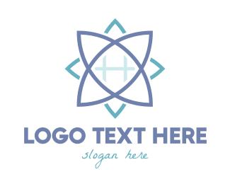 Botanist - Blue Grid Lotus logo design