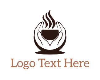 Steam - Hands Holding Steaming Cup logo design