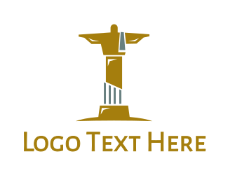 Destination - Gold Christ Statue logo design