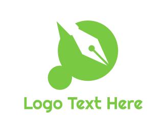 Sms - Green Dot pen logo design