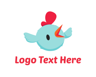 Chick - Blue Chicken Cartoon logo design