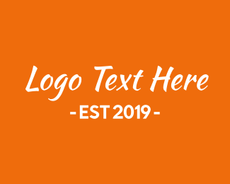 Wordmark - Orange & White Text logo design