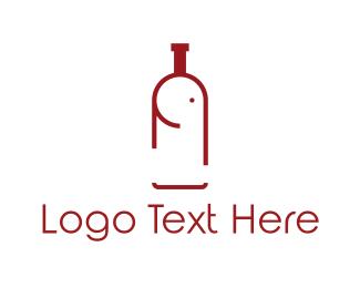 Red Wine - Elephant Bottle logo design