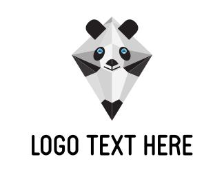 Bear - Geometric Panda Pencil logo design