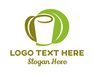 Soup - White Glass & Green Leaves logo design