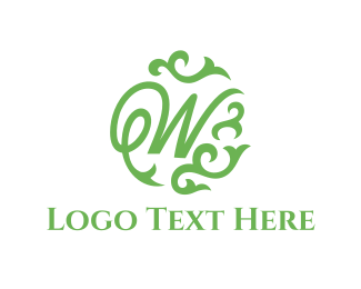 Text - Green Letter W logo design