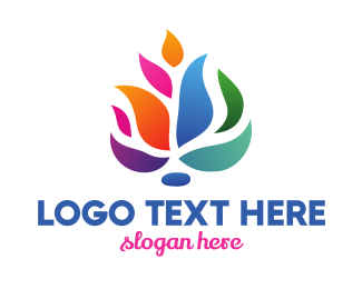 Feng Shui - Colorful Fire Flower logo design