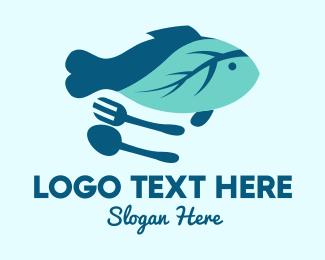 Spoon - Leaf Fish logo design