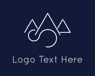 Skiing - Elegant Mountains logo design