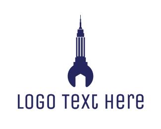 Galaxy - Blue Empire State Rocket logo design