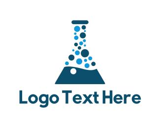 Scientific - Laboratory Test Tube Bubble logo design
