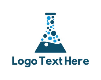 Test Tube - Laboratory Test Tube Bubble logo design