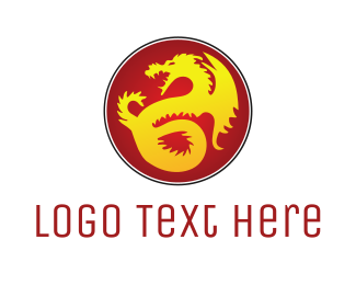 Fantasy - Golden Dragon logo design