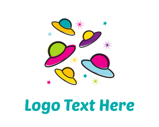 Universe - Colorful UFOs logo design