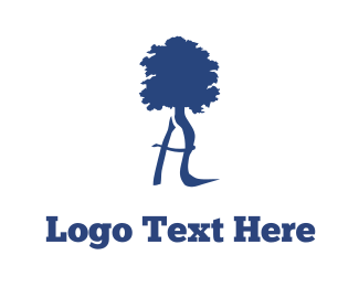 Blue Tree & Letter A Logo