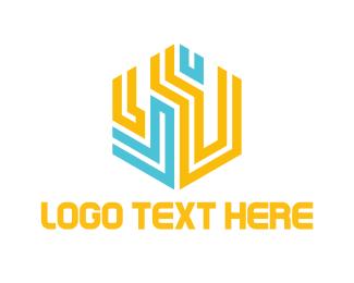 Maze - Hexagonal Circuits logo design