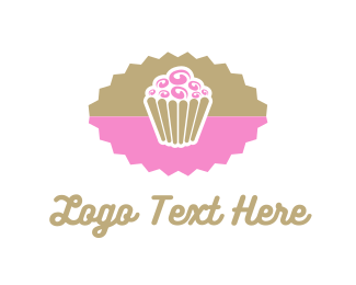 Candy - Pink Chocolate Cupcake logo design