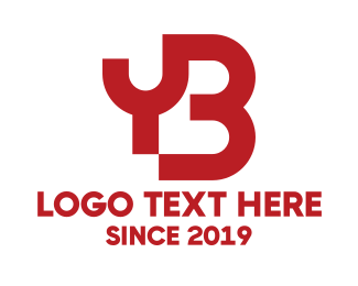 Name - Red Connected YB logo design