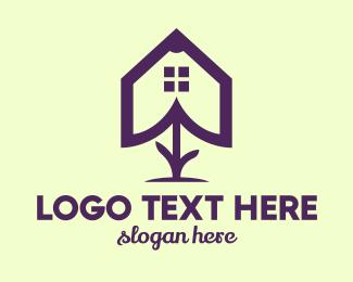 Real Estate Agent - Flower House Outline logo design