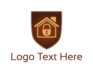 Security Service - House Padlock logo design