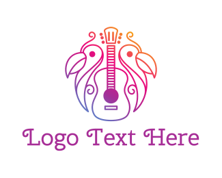 Mariachi - Gradient Guitar Outline logo design