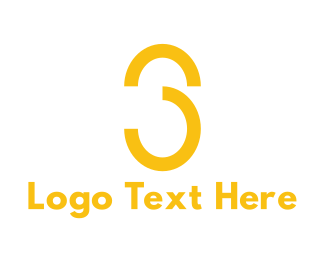 Number 3 - Yellow Number 3 logo design