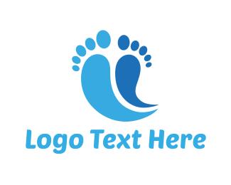 Reflexology - Blue Feet logo design