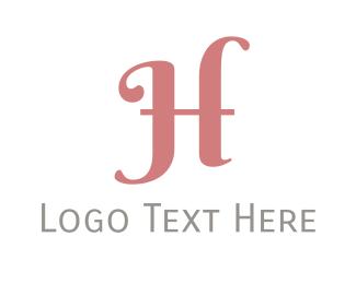 Cursive - Pink Cursive Letter H logo design