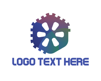 Machine - Hexagonal Gear logo design