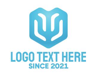 Ice - Abstract Blue Shield logo design