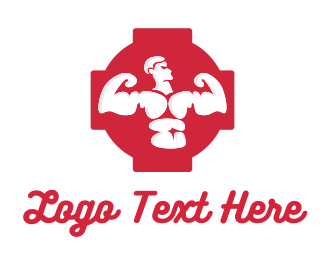Body Building - Red Muscle Man logo design