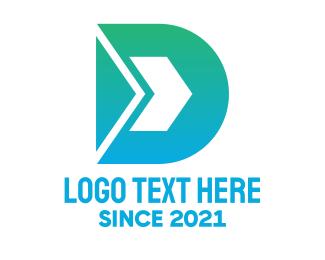 Postal Service - Blue Green Arrow D logo design
