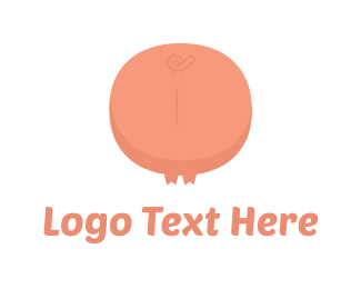 Pork - Pink Pig Tail logo design