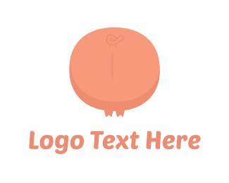 Farm - Pink Pig Tail logo design