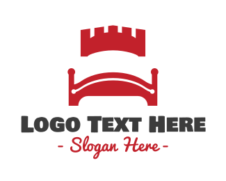 Hosting - Red Castle Bed logo design