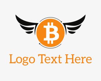 Drone - Bitcoin Wings logo design