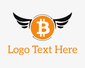Cryptocurrency - Bitcoin Wings logo design