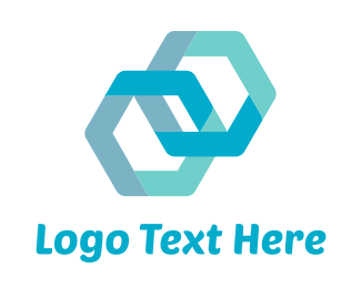 Business Software - Blue Hexagons Connected logo design