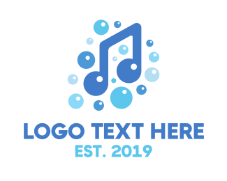 Shower - Music Note Bubbles logo design